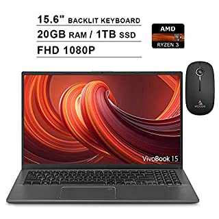 2020 ASUS VivoBook 15.6 Inch FHD 1080P Laptop| AMD Ryzen 3 3200U up to 3.5GHz| 20GB DDR4 RAM| 1TB SSD| Backlit KB| FP Reader| WiFi| Win 10 Home| Grey + NexiGo Wireless Mouse Bundle
