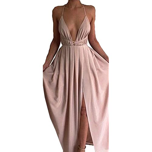 Missord Women Deep V Summer Slit Maxi Dress with Strap for Prom Party