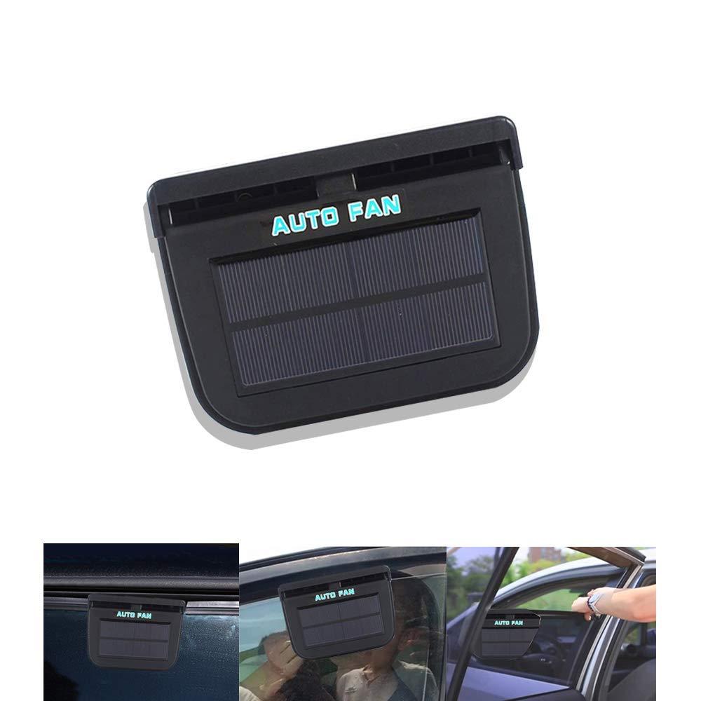 Car Window Fan Solar Powered,Car Window Fan Windshield Auto Air Vent Cooling Fan (Black, Third Generations)