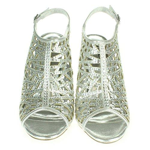 Mujer Señoras Corte con laser Moda Correa de tobillo Peep Toe Boda Nupcial Noche Fiesta Paseo Tacón alto Sandalias Zapatos Tamaño Plata.