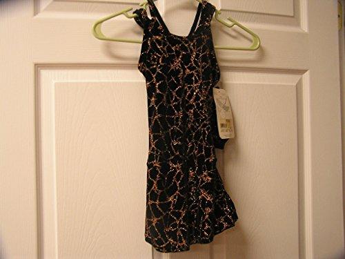 Mondor Model 2902 Velvet Copper Glitter Skating Dress Black/Copper Size 12-14