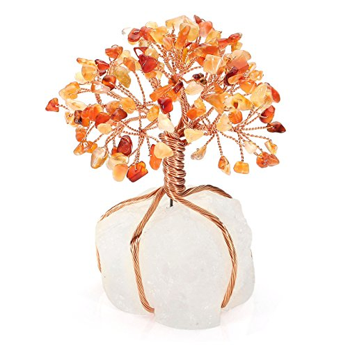 Jovivi Natural Red Agate Tree Crystal Quartz Money Tree Feng Shui Tree of Life Ornament Reiki Crystals Office Table Decoration for Living Room Wealth and ()