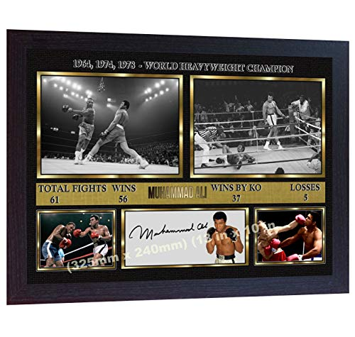S&E DESING Boxer Muhammad Ali Signed Autographed Boxing Photo Print Cassius Clay Framed - Muhammad Ali Framed Photo