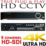 USG Business Grade 4MP 8 Channel HD-SDI Security DVR + 4TB HDD : Up To 4MP Video Resolution, 8x BNC HD Video-In, 2x SATA, USB, 2x HDMI + VGA + Spot BNC, RCA Audio, RS232C, Alarm : Free Phone App