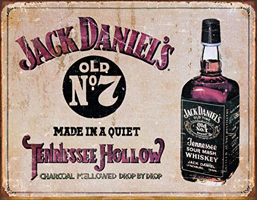 - Desperate Enterprises Jack Daniel's Whiskey - Tennessee Hollow Tin Sign, 16