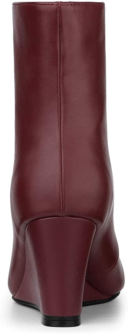 Allegra K Womens Front Zip Pointed Toe Low Wedge Ankle Boots
