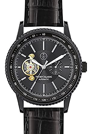 Trendy Classic automatic-cc1028 – 02-montre homme-automatique-boitier Stahl noir-cadran noir-bracelet Leder schwarz