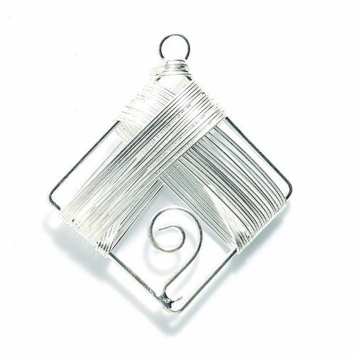 Shipwreck Beads Zinc Alloy Handmade Wire Wrapped Diamond Drop Bead, 43 by 50mm, Silver, 10-Pack