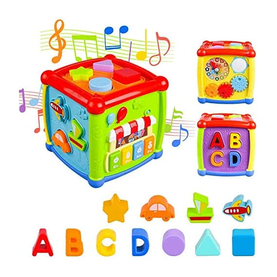 Little Buddy Baby Activity Cube, Shape Sorter Blocks Baby Toy 18 Months and Up, Music Learning Toys for Toddlers Infant