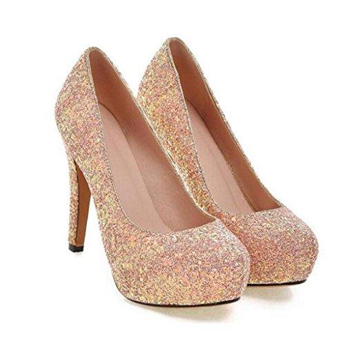 W&LM Sra Tacones altos Zapatos individuales Lentejuelas Ultra Tacones altos Plataforma a prueba de agua Boca rasa Zapato Pink