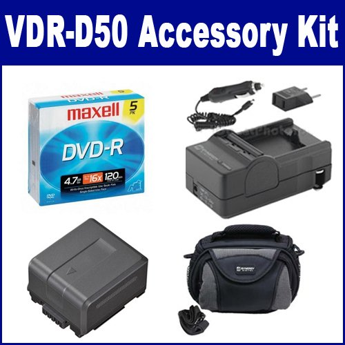 Panasonic VDR-D50 Camcorder Accessory Kit includes: ACD756 Battery, SDC-26 Case, SDM-130 Charger, 638002 Tape/ Media by Synergy Digital