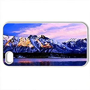 amazing mountain scape - Case Cover for iPhone 4 and 4s (Mountains Series, Watercolor style, White)