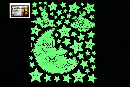 Condom Costume Amazon (PertidStar Glow In The Dark Stars Wall Stickers Rabit Sleep for Starry Sky, Perfect For Kids Bedding Room or Birthday Gift ,Beautiful Wall Ceiling Decals Perfect For Baby Nursery Bedroom Decor,Set 21)