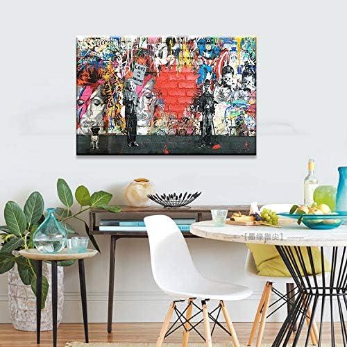 Orlco Art Graffiti Art Street Style Banksy Graffiti Peinture Einstein Chaplin Mickey Post C/œur Rouge Art Urben Peinture r/étro Image color/ée 61 x 91 cm