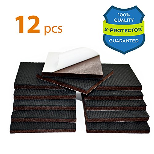 "NON SLIP FURNITURE PADS X-PROTECTOR – PREMIUM 12 pcs 3"" Furniture Pad! Best Furniture Grippers - SelfAdhesive Rubber Feet - Furniture Floor Protectors for Keep in Place Furniture & Furniture Stoppers"