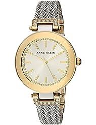 Anne Klein Womens AK/1907SVTT Swarovski Crystal Accented Two-Tone Mesh Bracelet Watch