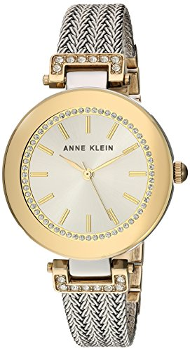Anne Klein Women's Swarovski Crystal Accented Two-Tone Mesh Bracelet Watch