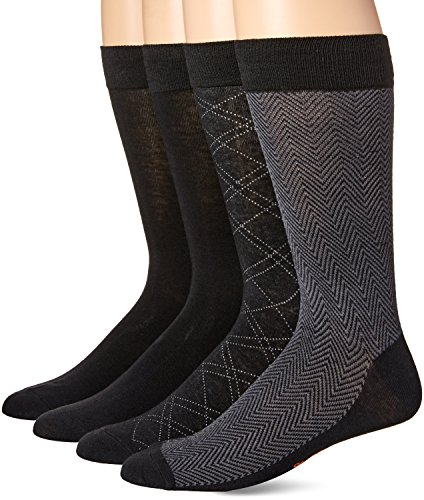 Dockers Men's 4 Pack Herringbone Dress, Black, Shoe Size: 6-12 (Sock Size: 10-13)