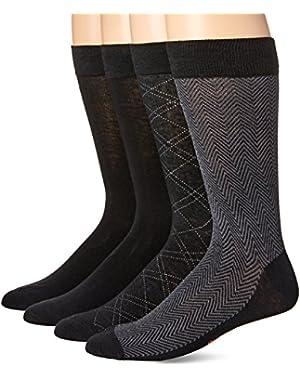 Men's 4 Pack Herringbone Dress Socks