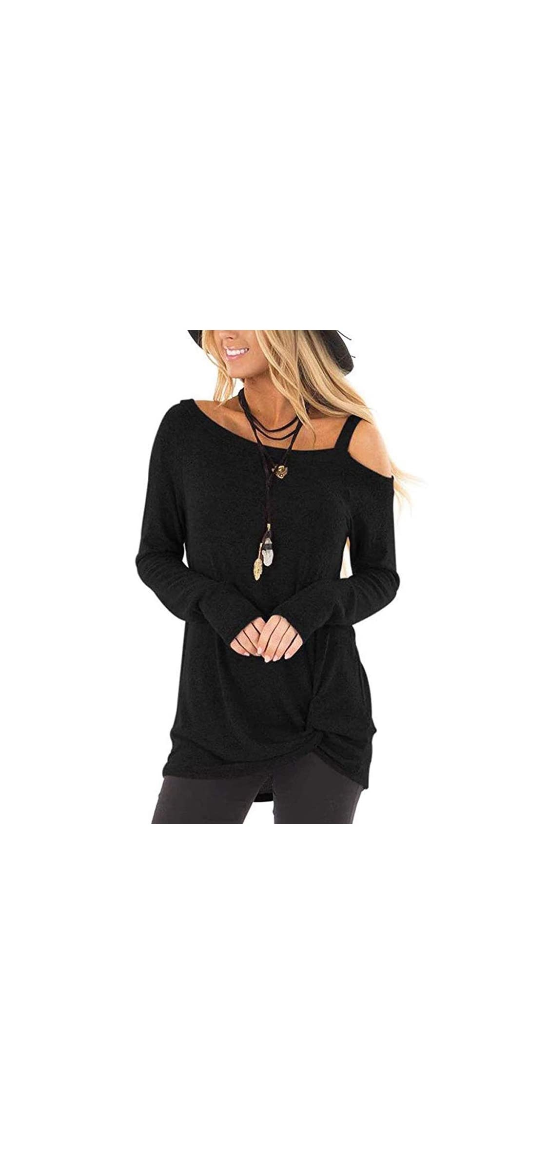 Women's Casual Solid T Shirts Cold Shoulder Side Twist