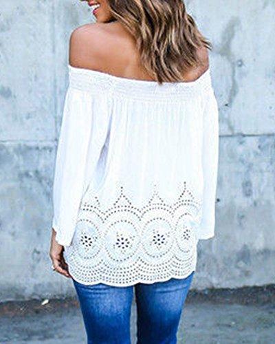 Camisa Camiseta Blusa Manga Larga Top Sin Tirantes Gasa Camisa Para Mujer Blanco