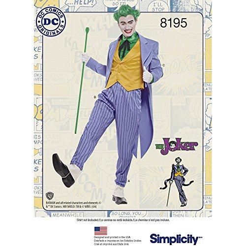 Costumes C (Simplicity 8195 Men's Joker Costume D.C. Comics, BB (46-48-50-52))