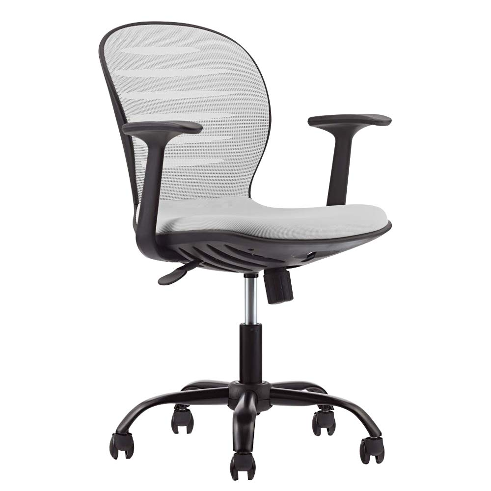 Computer Desk Chair Mid-Back Swivel Grey Mesh Home Office Chair