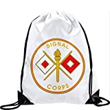 Express It Best Large Drawstring Bag with US Army Signal Corps, branch plaque - Long lasting vibrant image
