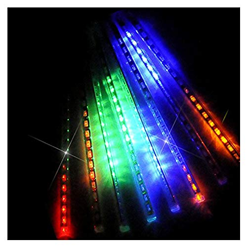 OMGAI LED Meteor Shower Rain Lights - Waterproof Drop Icicle Snow Falling Raindrop 30cm 8 Tubes Cascading Lights for Wedding Xmas Home Décor, Colourful (UL Listed Plug)