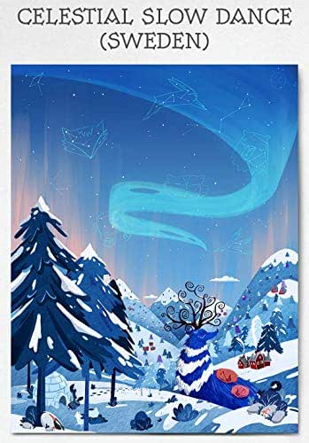Amazon.com: Whimsical Winter Aurora Mountain Print