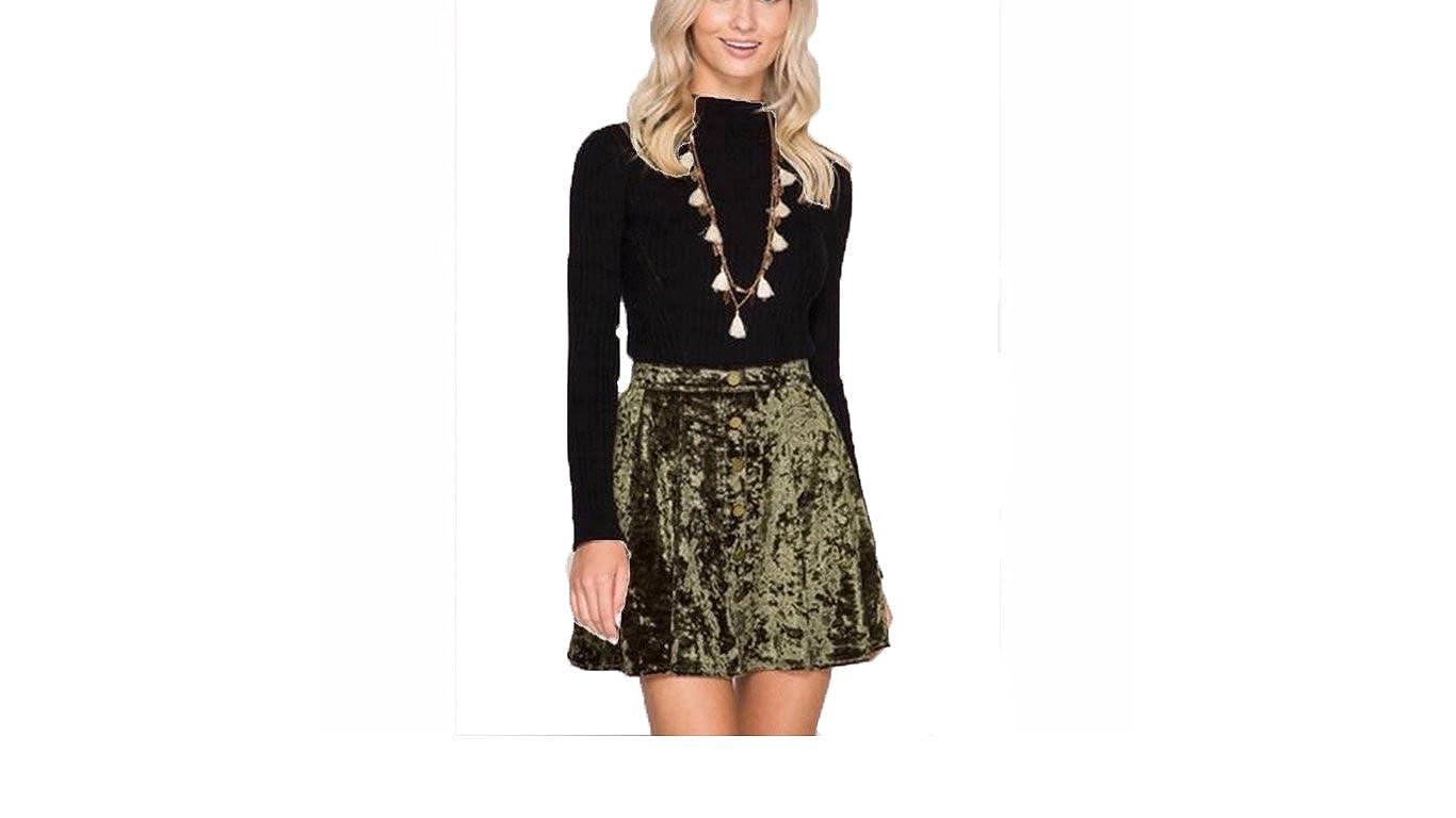 10593901e4 She + Sky Women's Crushed Velvet Mini Skirt Snap Down Front Olive at Amazon  Women's Clothing store: