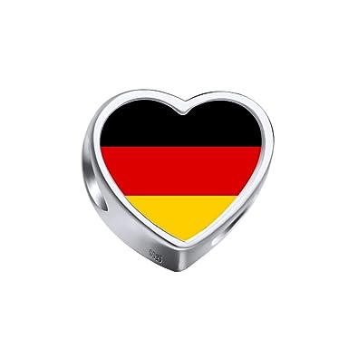 7df3375bf Moonlove Fashion 925 Sterling Silver Germany Flag Heart Photo Pendant  European Charm Beads Fit Pandora Chamilia