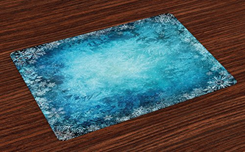 Lunarable Winter Place Mats Set of 4, Various Types of Snowflake in Soft Colors Theme Seasonal Blue Background, Washable Fabric Placemats for Dining Table, Standard Size, Turquoise -