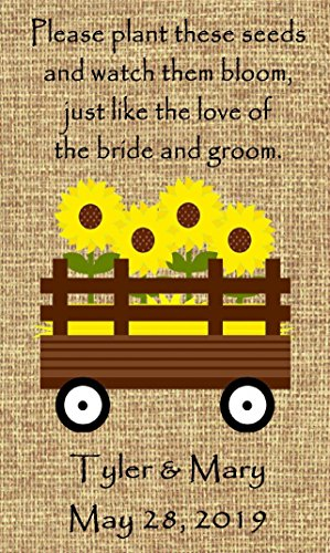 Personalized Wildflower Seed (Personalized Wedding Favor Wildflower Seed Packets Burlap Sunflower Wagon Design Set of 150 - 6 verses to choose from)
