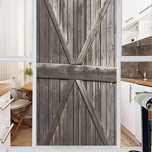 Decorative Window Film,No Glue Frosted Privacy Film,Stained Glass Door Film,Old Wooden Door with Big Cross Design Rustic Country Life Architecture Building Doorway Decorative,for Home & Office,23.6In.