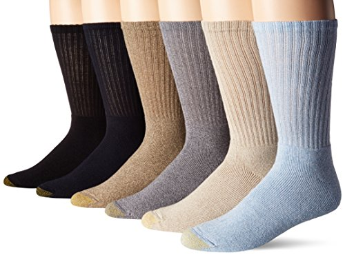 Gold Toe Men's Harrington Crew Socks (6 Pair Pack), Washed Blue, Light Grey, Navy, Oatmeal, Khaki Marl, Black, Shoe Size: 6-12.5