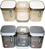 Nayasa Superplast Plastic Fusion Containers 1 Litre, Set of 6, Brown and Grey