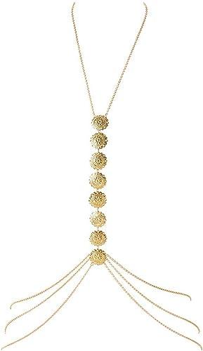 MJARTORIA Damen Körperkette Gold Farbe Boho Bauchkette