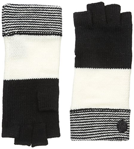Jersey Print Gloves - Vince Camuto Women's Variegated Stripe Fingerless Glove, Caviar/Egret, One Size