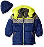 iXtreme Big Boys' Tonal Colorblock Puffer with Hat, Navy, 14/16