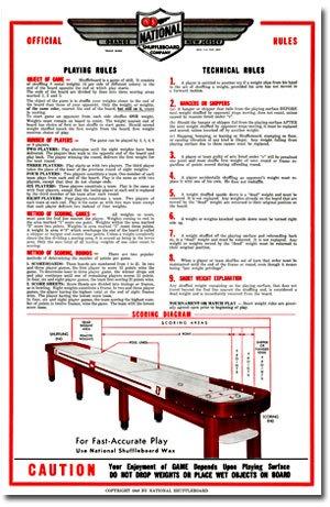 Regulation Shuffleboard Table (RESTORED NATIONAL SHUFFLEBOARD TABLE RULES AND REGULATION POSTER - SET OF TWO)