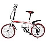 Ferty Folding Bike, 20'' 6 Speed City/Mountain/Sports Commuter Trigger Shift Carbon Steel U8 Foldable Bicycle with Shimano Gears for Adult, Red [US STOCK]