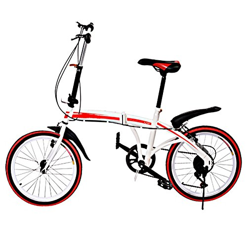 Ferty Folding Bike, 20'' 6 Speed City/Mountain/Sports Commuter Trigger Shift Carbon Steel U8 Foldable Bicycle with Shimano Gears for Adult, Red [US STOCK] by Ferty