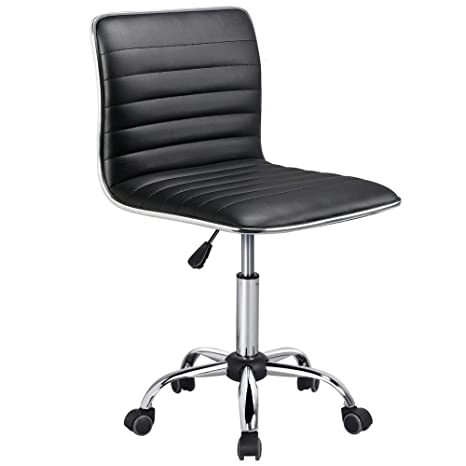 Incredible Yaheetech Adjustable Task Chair Pu Leather Low Back Ribbed Armless Swivel Black Desk Chair Office Chair Wheels Creativecarmelina Interior Chair Design Creativecarmelinacom