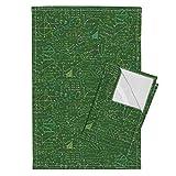 Math School Geek Nerd College Teacher Mathematics Tea Towels Math Lessons (Green by Robyriker Set of 2 Linen Cotton Tea Towels