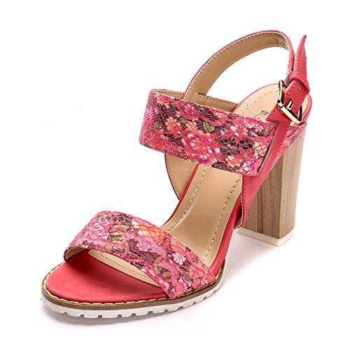de Sandalias para floral tacón estampado mujer Rosa Alexis Leroy con E0Yww5