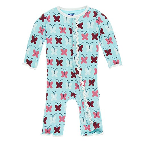 (Kickee Pants Little Girls Print Muffin Ruffle Coverall With Snaps - Tallulah's Butterfly, 3-6 Months )