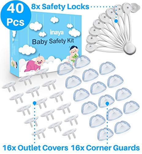 Complete Baby Proofing Kit - Child Safety Locks, Corner Guards & Outlet Covers - Accident Proof Devices to Keep Your Child Safe at Home - Inaya - Great Gift for Baby Shower & Baby Registry