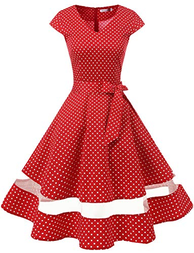 Gardenwed Women's 1950s Rockabilly Cocktail Party Dress Retro Vintage Swing Dress Cap-Sleeve V Neck Red Small White Dot M -