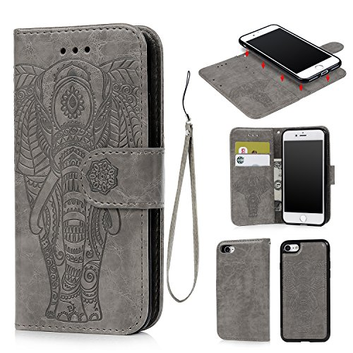 iPhone 7 Wallet Case, iPhone 8 Case Embossed Love PU Leather Case Full Protective Anti-Scratch Resistant Cover Magnetic Case Slot Wrist Strap Case for iPhone 7 & iPhone 8 - Embossed Elephant